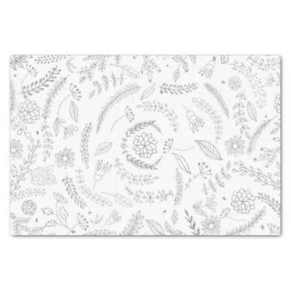 Papier Mousseline Argent et floral fascinant élégant botanique blanc