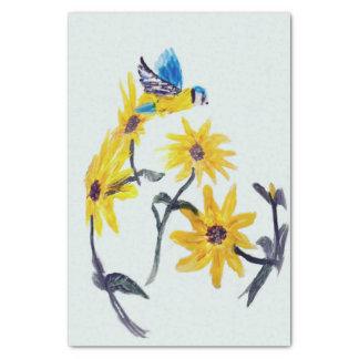 Papier Mousseline Art floral d'oiseau, tournesols de mésange bleue