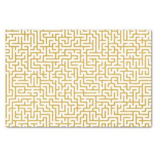Papier Mousseline Art moderne de labyrinthe élégant - or et blanc