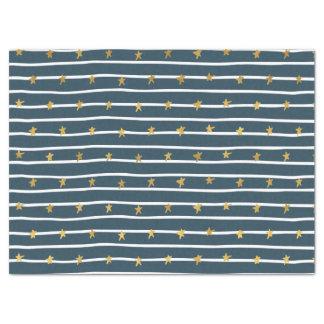 Papier Mousseline Bannière étoilée bleue blanche d'or