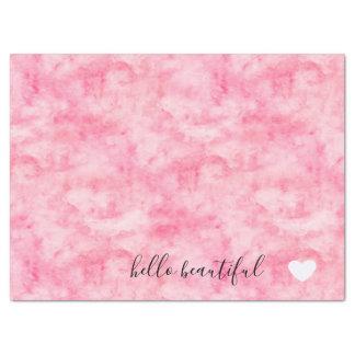 Papier Mousseline Beau coeur rose d'aquarelle bonjour