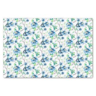 Papier Mousseline Beau feuille floral et vert bleu sur le blanc
