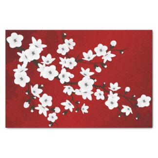 Papier Mousseline Blanc rouge de noir floral de fleurs de cerisier