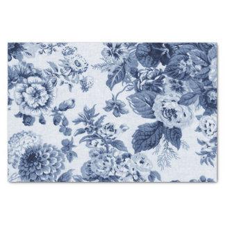 Papier Mousseline Bleu d'indigo Toile floral vintage No.3B