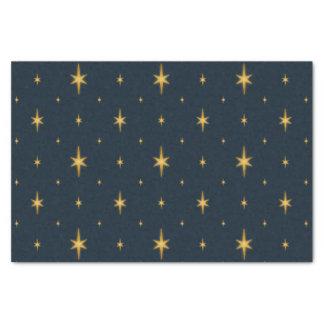 Papier Mousseline Bleu marine avec les étoiles métalliques d'or