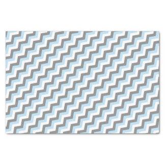 Papier Mousseline Bleus layette Chevron et gris