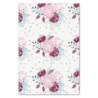 Papier Mousseline Bouquet rose et argenté de jolie licorne