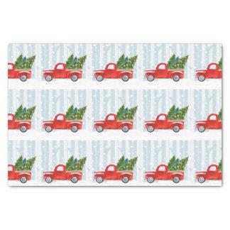 Papier Mousseline Camion pick-up rouge de Noël sur une route de