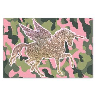 Papier Mousseline Camouflage de Camo et licorne verts roses de
