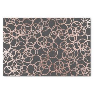 Papier Mousseline Cercles roses modernes d'or sur le noir de charbon