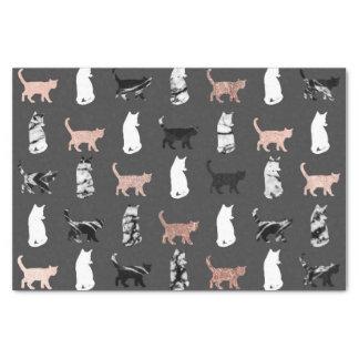 Papier Mousseline Chats de Kitty en or rose et marbre noir et blanc
