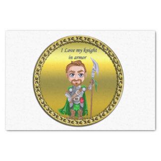 Papier Mousseline Chevalier vert et argenté dans son armure et épée