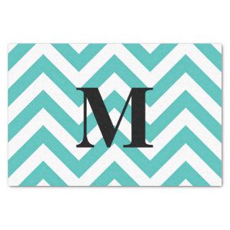 Papier Mousseline Chevron bleu avec le monogramme