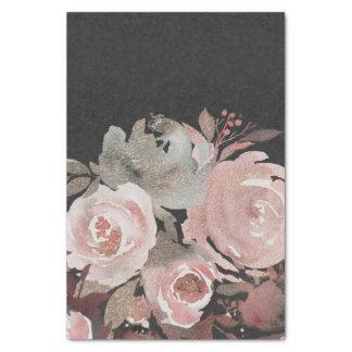 Papier Mousseline Chic fascinant floral foncé de roses de parties