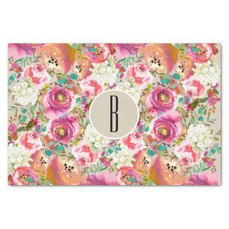 Papier Mousseline Chic minable de monogramme rustique floral élégant
