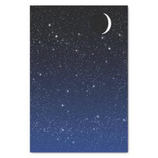 Papier Mousseline Ciel étoilé et croissant de lune, bleu profond à