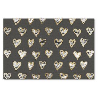 Papier Mousseline Coeurs de marbre blancs noirs chics modernes d'or