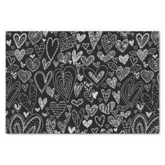 Papier Mousseline Coeurs de Saint-Valentin sur le noir