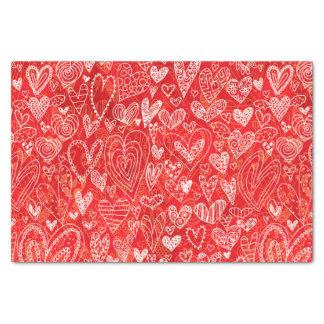 Papier Mousseline Coeurs de Saint-Valentin sur le rouge