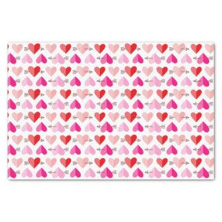 Papier Mousseline Coeurs et flèches mignons rose et rouge de