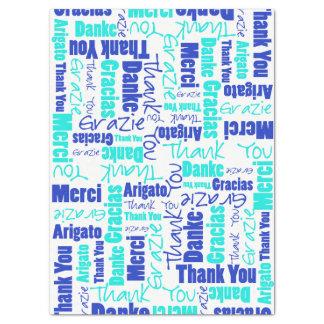 Papier Mousseline Collage de mot de MERCI de bleu et de turquoise