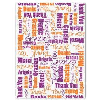 Papier Mousseline Collage pourpre et orange de mot de MERCI