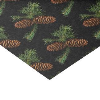 Papier Mousseline Cônes de charbon de bois et de pin d'aquarelle