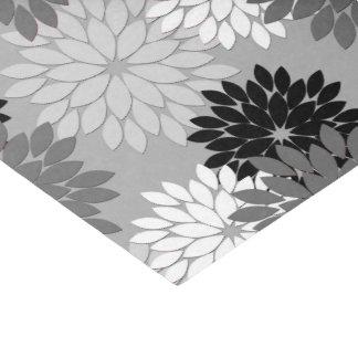 Papier Mousseline Copie florale moderne de kimono, gris, noir et
