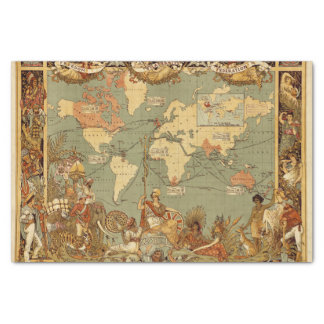 Papier Mousseline Cru 1886 d'antiquité de carte du monde