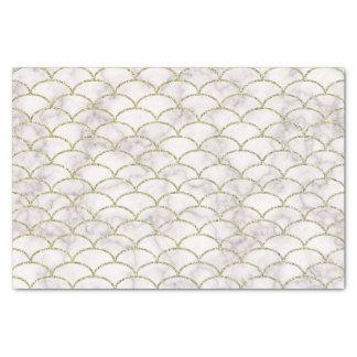 Papier Mousseline Échelles de marbre blanches élégantes d'or