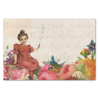 Papier Mousseline Éphémères floraux de manuscrit d'oiseau vintage de