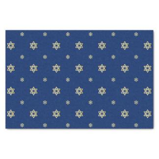 Papier Mousseline Étoile et flocons de neige bleus et métalliques