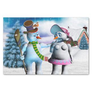 Papier Mousseline Femmes drôles de bonhomme de neige et de neige