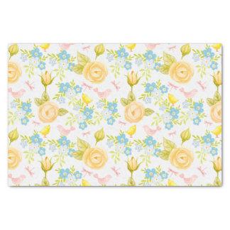 Papier Mousseline Fleurs jaunes et bleues sur les oiseaux roses sur