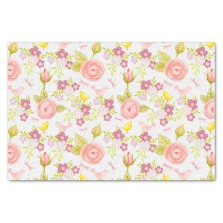Papier Mousseline Fleurs roses et pourpres sur le blanc