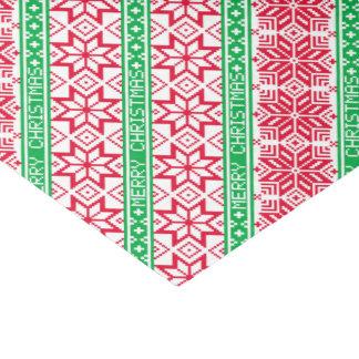 Papier Mousseline Flocon de neige vert rouge laid de Joyeux Noël de