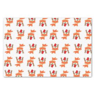 Papier Mousseline Fox dans Noël de motif de casquette de Père Noël