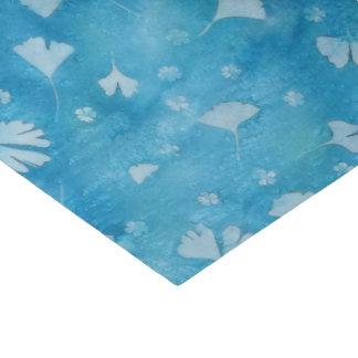Papier Mousseline Ginkgos et fleurs bleus Sunprints d'Aqua