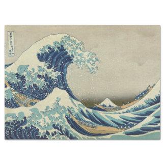 Papier Mousseline Grande vague japonaise outre de Kanagawa par