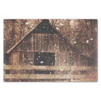 Papier Mousseline Grange rurale d'hiver de pays primitif de neige