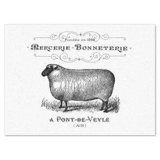 Papier Mousseline Graphique français vintage de moutons