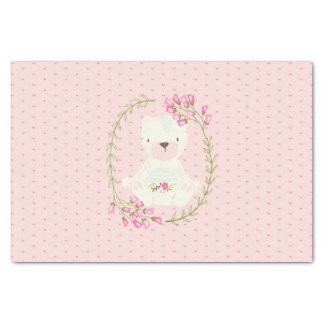 Papier Mousseline Guirlande florale et coeurs d'ours mignon