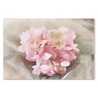 Papier Mousseline Hortensia en forme de coeur vintage