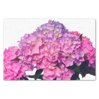 Papier Mousseline Hortensias roses et bleus