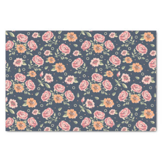 Papier Mousseline Illustration colorée vintage de motif de rose