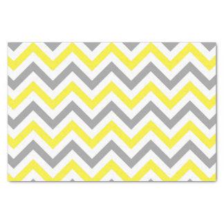 Papier Mousseline Jaune, motif de zigzag blanc gris du DK grand