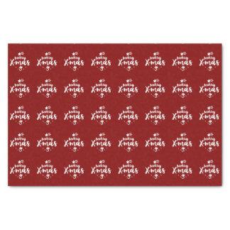 Papier Mousseline Joyeux Noël rouge et blanc