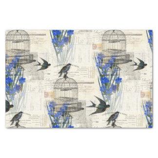 Papier Mousseline Le bleu vintage de cage à oiseaux d'oiseau fleurit