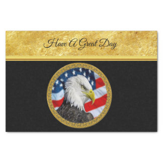 Papier Mousseline Le chef d'Eagle et une feuille d'or de drapeau