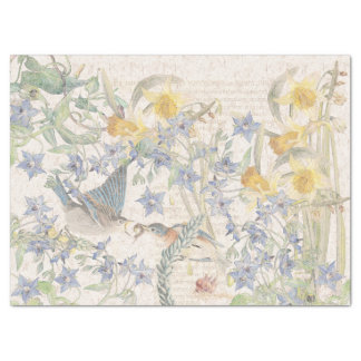 Papier Mousseline Le narcisse d'oiseaux d'oiseau bleu fleurit le